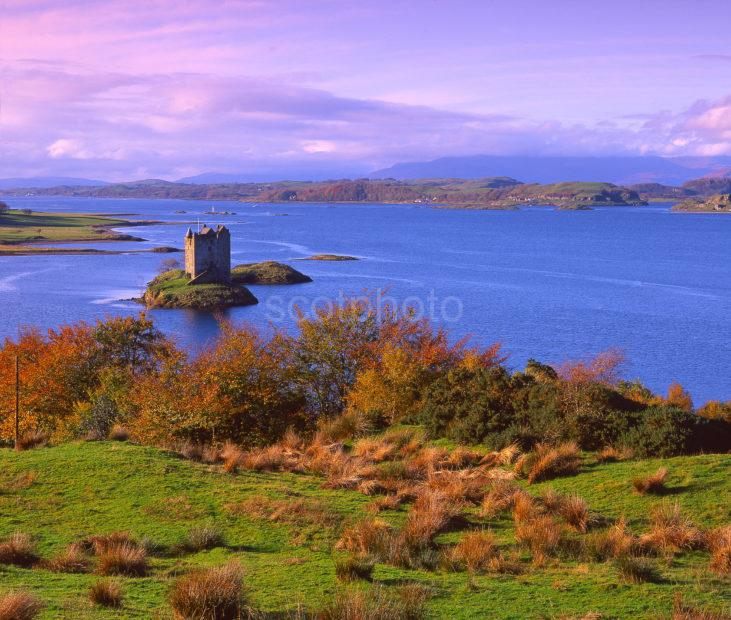 Autumn View Looking South West Towards Castle Stalker And The Isle Of Lismore Firth Of Lorne Appin Argyll
