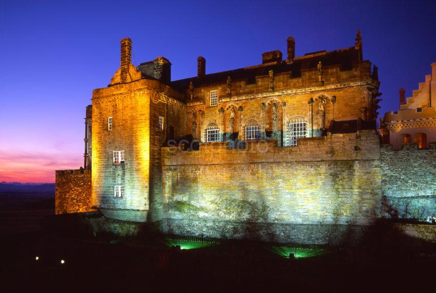 Stunning Floodlit Picture Of Stirling Castle As Seen From The Battlements City Of Stirling Scotland