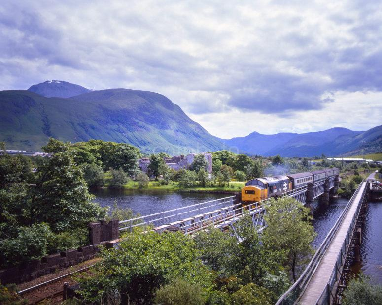 Class 37 411 Passes Old Inverlochy Castle And Ben Nevis Fort William To Mallaig Line
