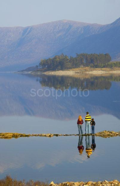 Tourists Enjoy Scene On Loch Cluanie