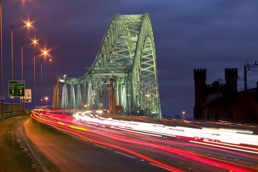 Runcorn Bridge At Night