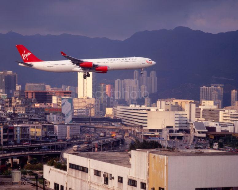 Virgin Airbus A340 Landing At Kai Tak Hong Kong