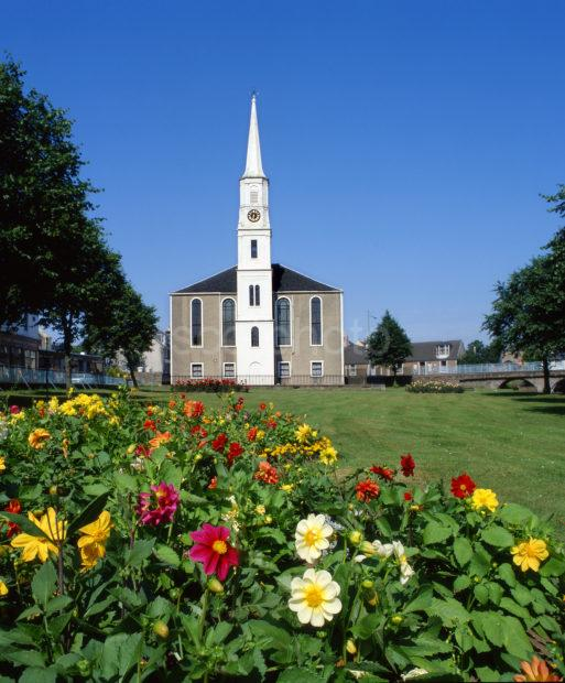 The Village Green And Church Strathaven Lanarkshire