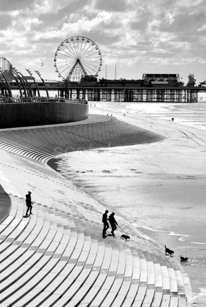 From North Per To Central Pier With New Promenade BLACK AND WHITE