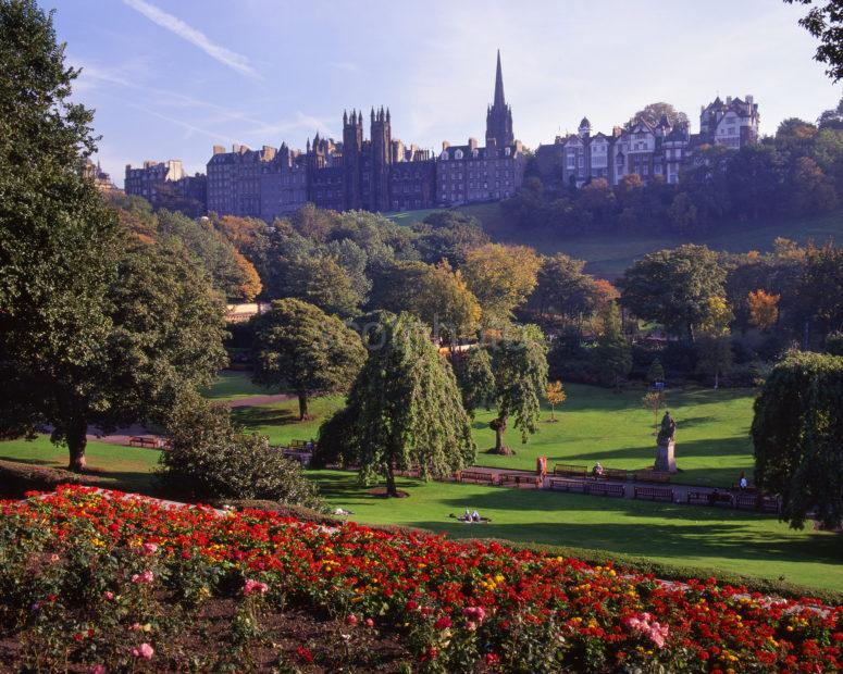 Ramsay Gardens And The Mound From Princes Street Edinburgh