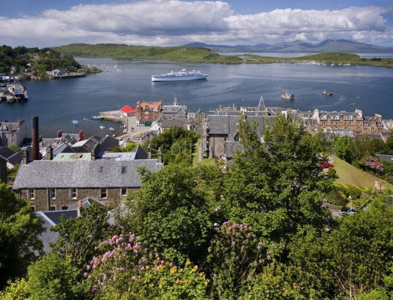 Summer View Oban Bay From Tower With Cruise Ship