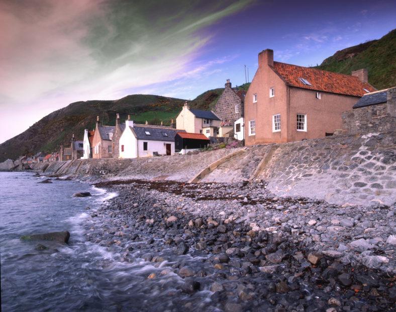 Waters Edge Crovie Village At Foot Of Cliffs Banffashire Coast