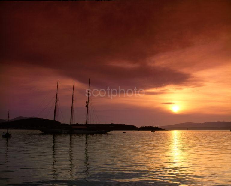 Tall Ship Sunset In Oban Bay Argyll