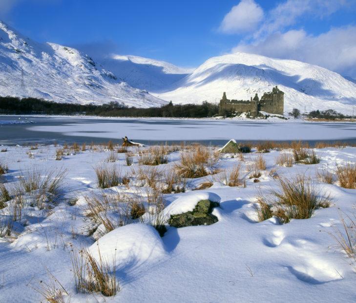 Winter Kilchurn Castle Snow