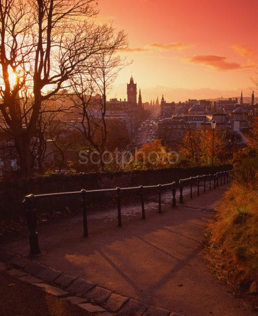Lovely Autumn View Bathed In Late Afternoon Light Looking Towards Princes Street Edinburgh