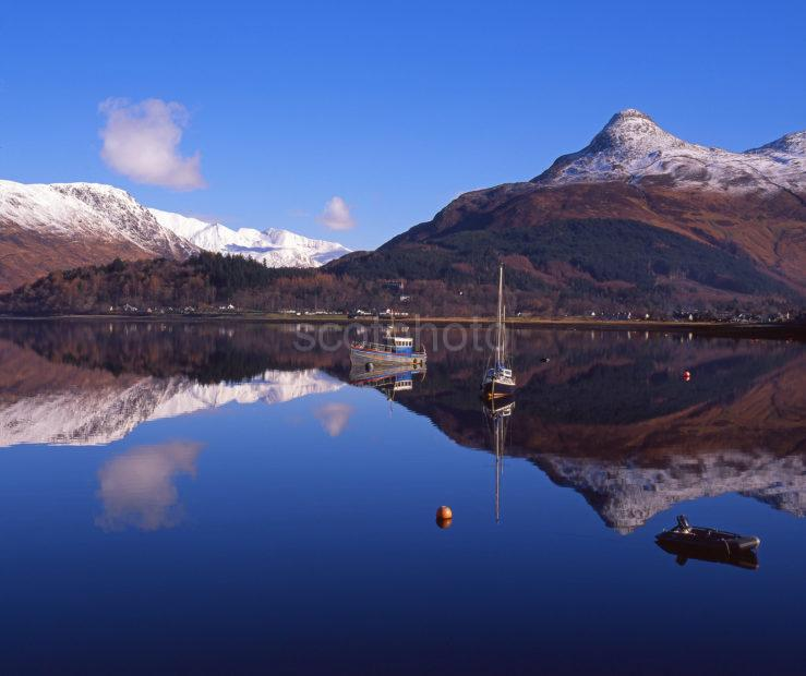 Peaceful Winter Scene Across Loch Leven Towards The Pap Of Glencoe And The Mamore Hills Glencoe West Highlands