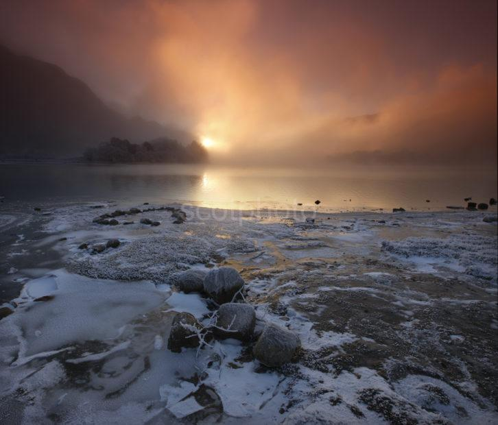 Sunset On Loch Shiel In Winter