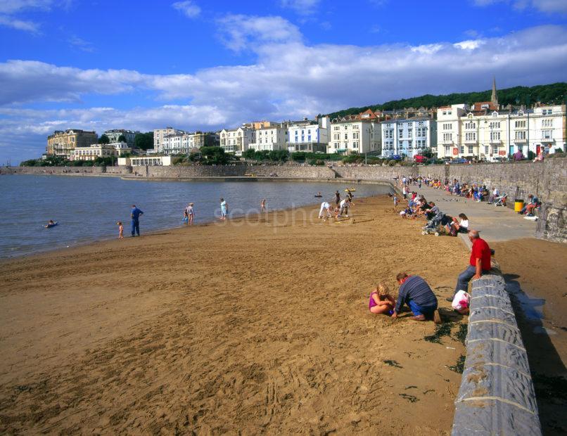 Promenade And Beach Scene In Weston Super Mare