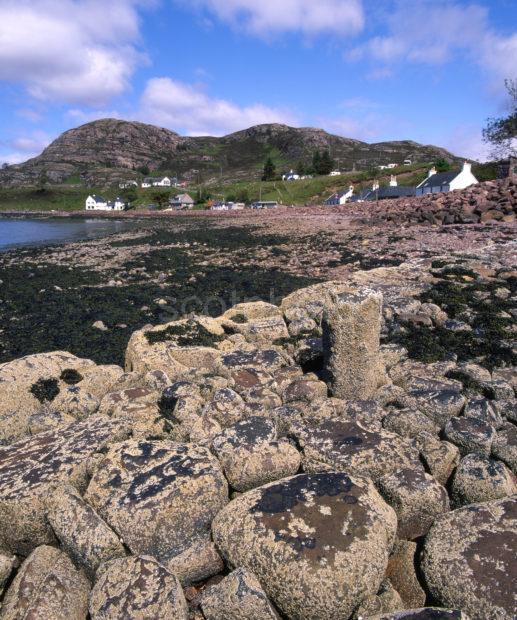 Shieldaig Village From Shore Of Loch Shieldaig Torridon NW Highlands