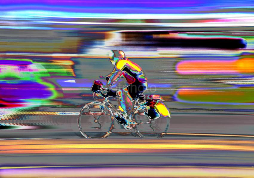 Cyclist At Speed Great Abstract Movement Black Card