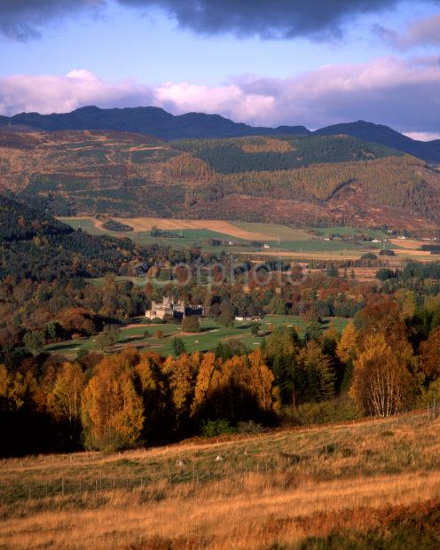 Autumn Scene In Breadalbane With Distant Taymouth Castle Perthshire