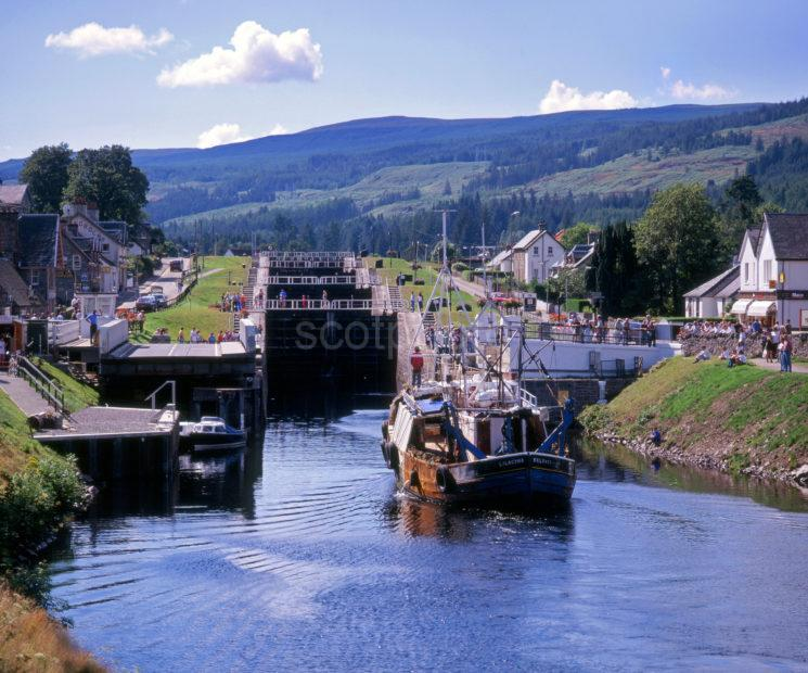 Fishing Boats Enters The Staircase At Fort Augustus