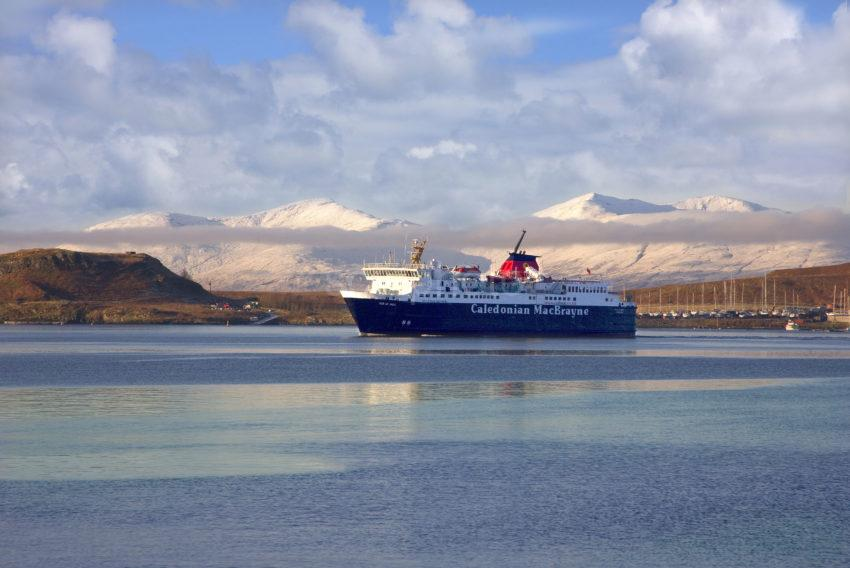 Winter View With MV Isle Of Mull With Snowy Hills Of Mull Oban Bay