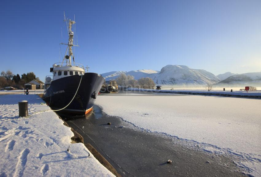 Winter In Corpach Basin Towards Ben Nevis