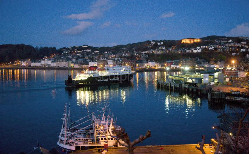 Clansman Arrives At Oban After Dusk Jan 2010