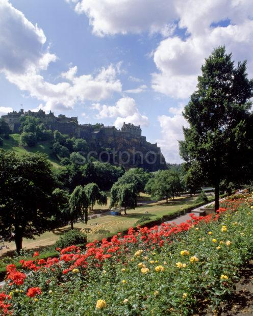 Summer View From Princes Street Gardens Towards The Castle Edinburgh