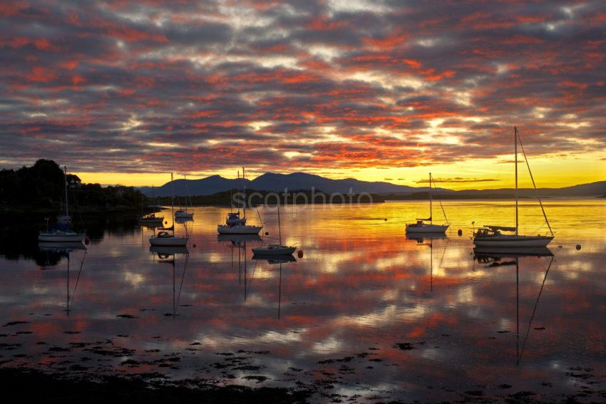 Sunset Afterglow Over MULL From Connel