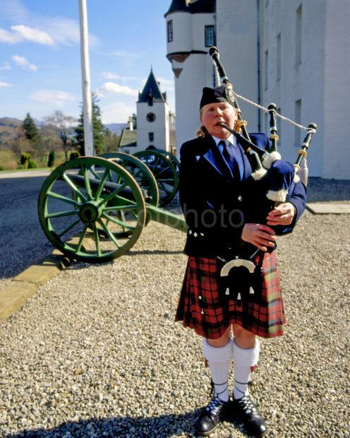 Piper Playing Outside Blair Castle In Blair Atholl Perthshire