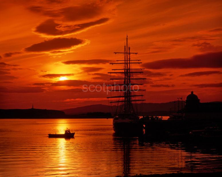 Tall Ship At The North Pier Oban At Sunset Oban Argyll