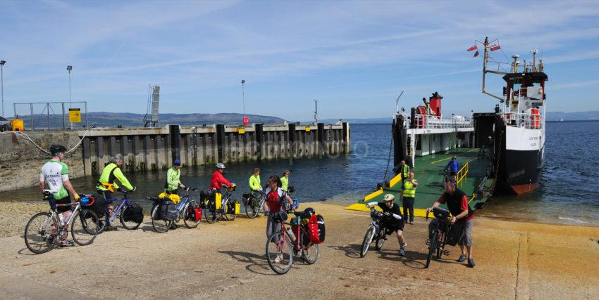 Cyclists Await Boarding At Lochranza Arran