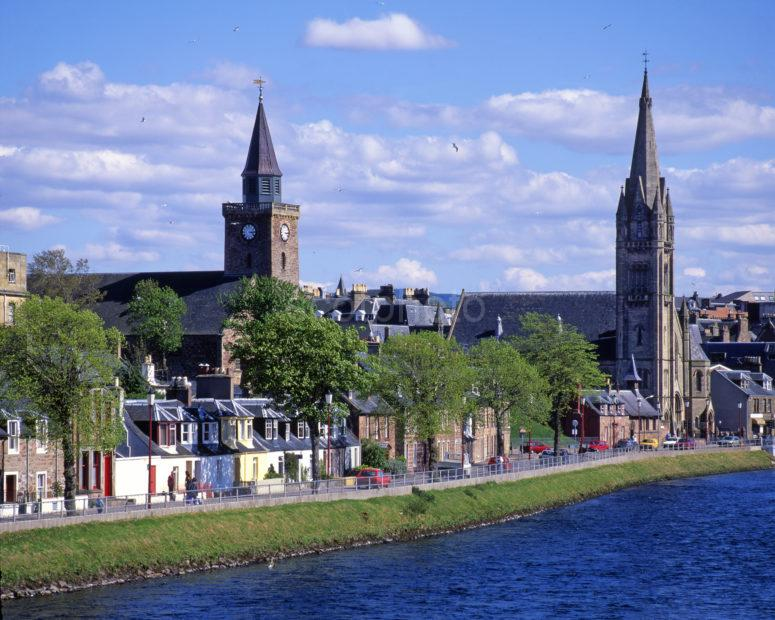 Church Spires On The Banks Of The River Ness In Inverness
