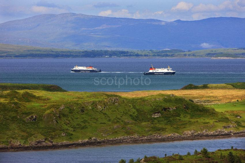 Good Shot Two Ferries Passing Firth Of Lorne