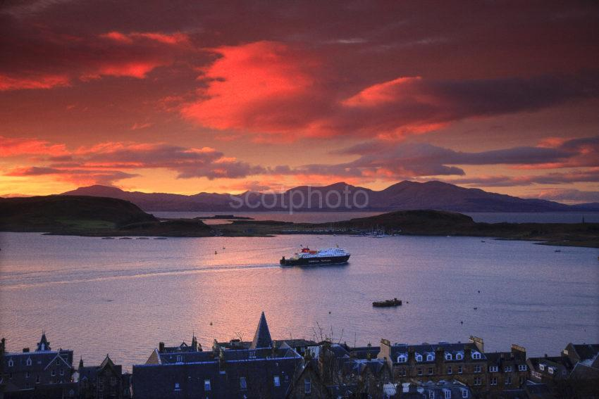The Clansman Departs Oban At Sunset