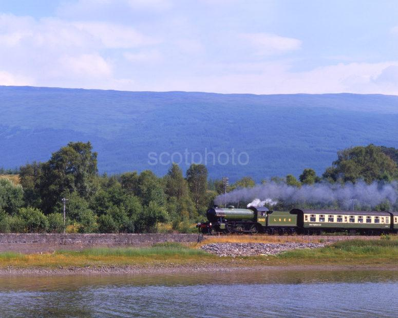 LNER 2 6 0 K2 Runs Alongside Loch Eil With F William To Mallaig Steam Train