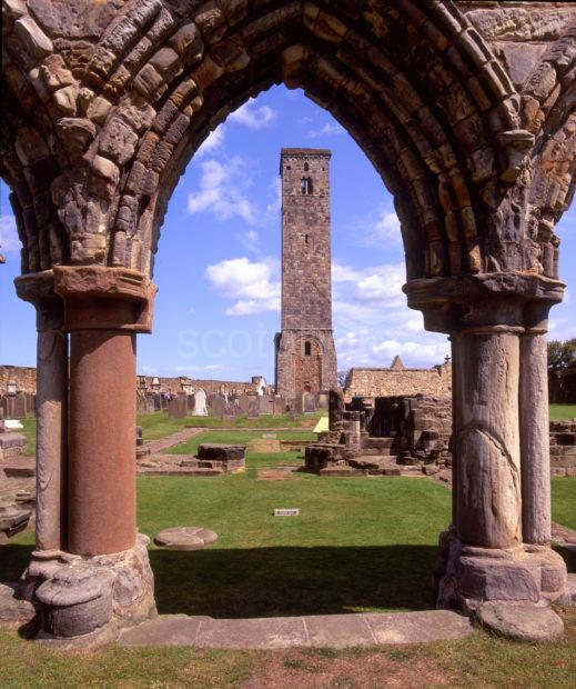 The Ruins Of St Andrews Cathedral With St Rules Tower St Andrews Fife