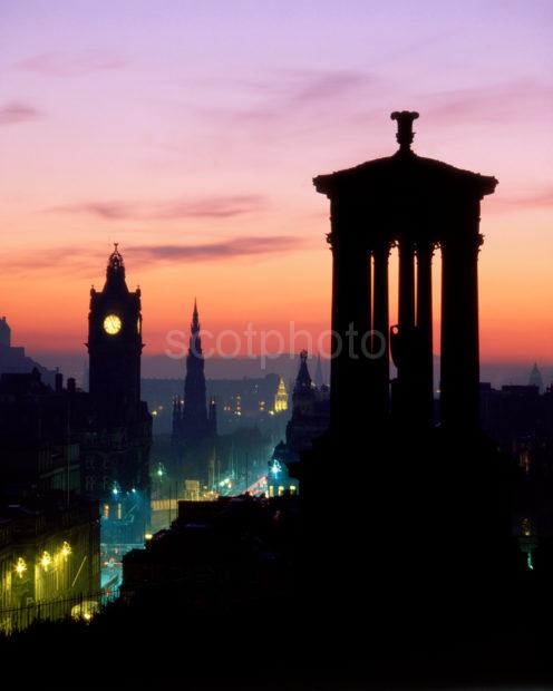 Sunset Silhouetter Over Edinburgh From Calton Hill And Princes Street