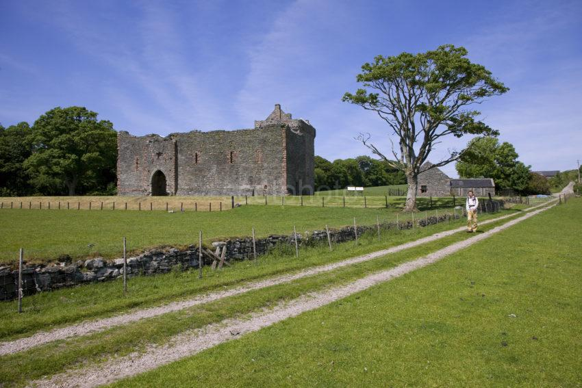 Skipness Castle With Tourist