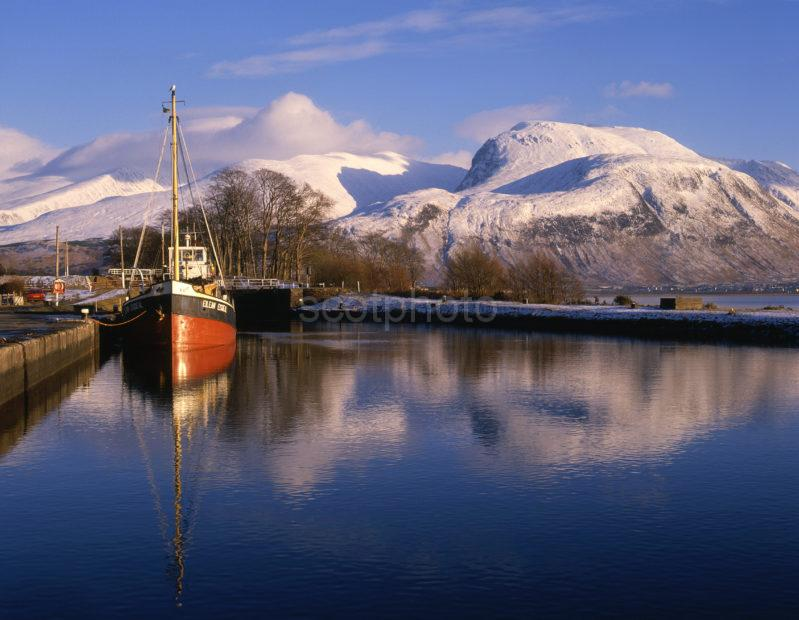 Ben Nevis In Winter From Corpach Caledonian Canal
