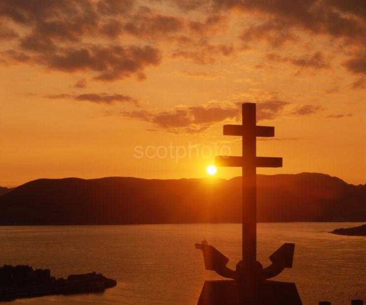 Sunset Silhouette Cross Of Lorraine On Lyle Hill Greenock Renfrewshire