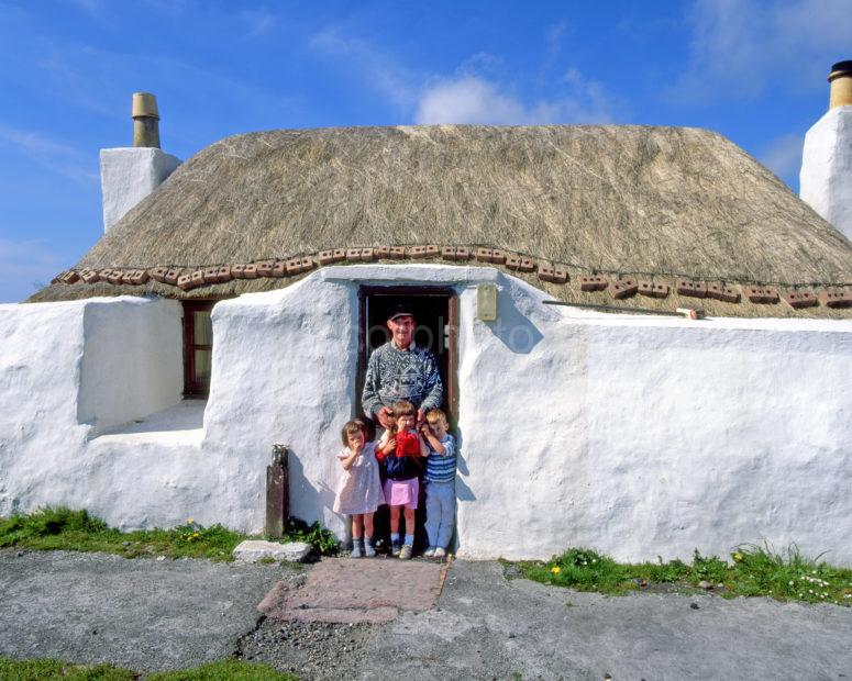 Crofter With Young Family 1980s Scaranish Tiree