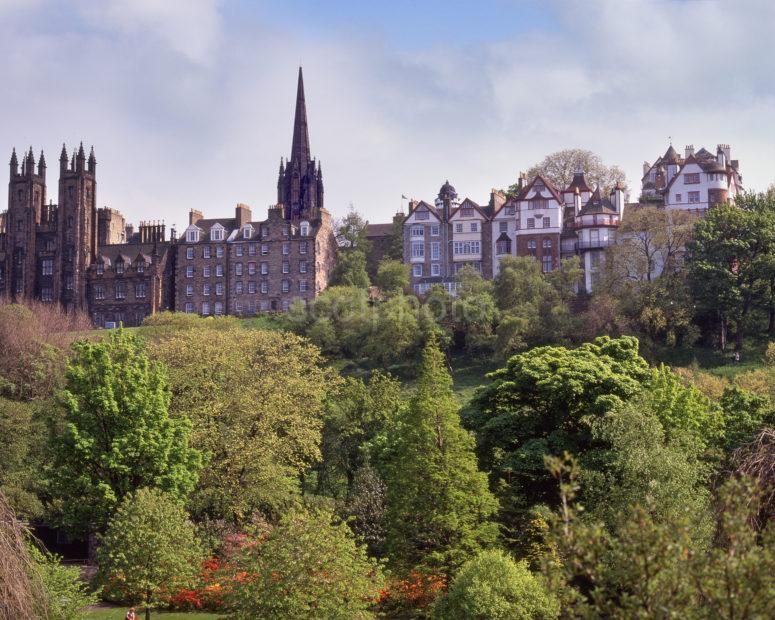 Spring View From Princes St Garden To The Mound And Ramsey Terrace