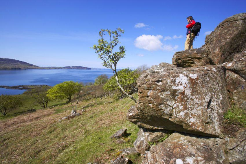 Hiker Takes In The View On North West Coast Of Mull 47MG