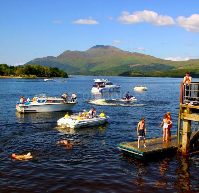Action Around Luss Pier Loch Lomond