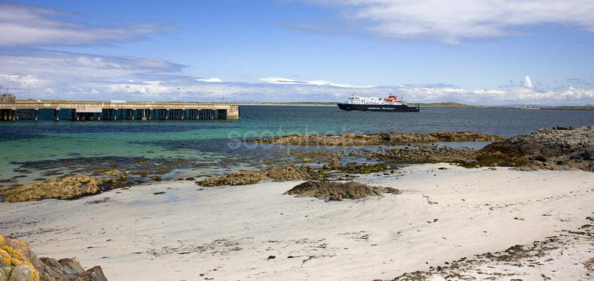 Panoramic Of Clasman Arriving At Tiree Pier With White Beaches