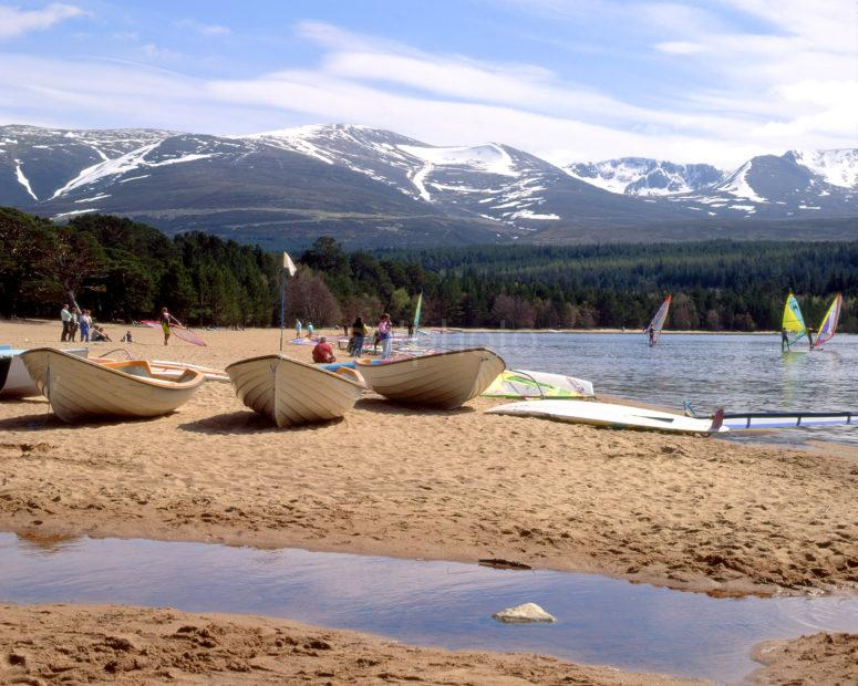 Busy Scene From Shore Of Loch Morlich Amongst The Cairngorms