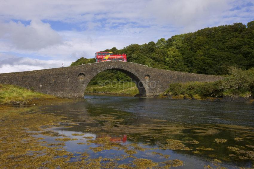 Oban Tour Bus Crosses The Clachan Bridge Argyll