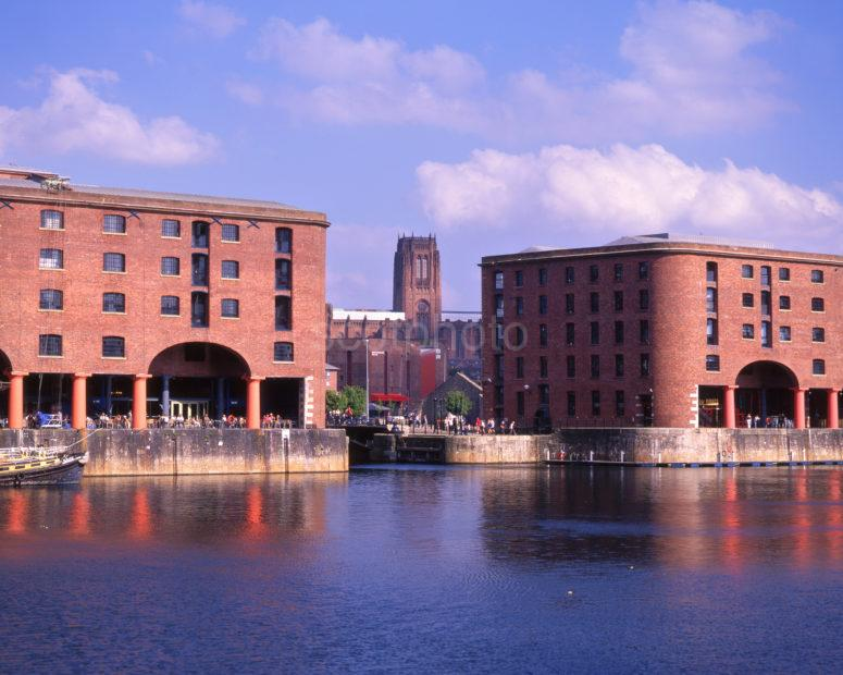 The Albert Dock Shops And Restaurants With Anglican Cathedral