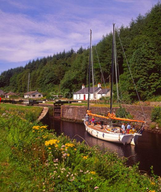A Fine Looking Yacht Heads West On The Crinan Canal Near Cairnbaan Argyll