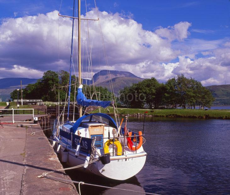 A Colourful Scene On The Caledonian Canal At Corpach With Ben Nevis In View Corpach Basin Fort William Lochaber