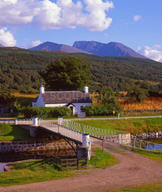 Beautiful Summer Views Across The Caledonian Canal Towards Ben Nevis From Moy Bridge Lochaber West Highlands