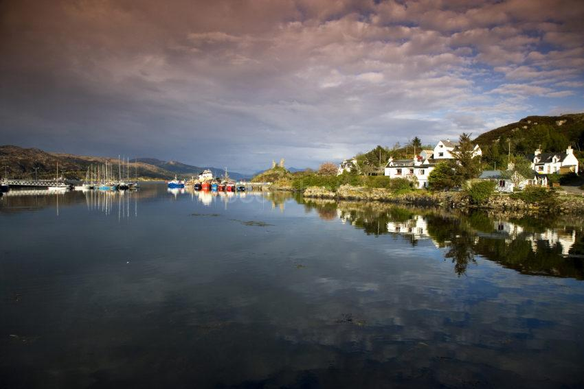 WY3Q9782 Evening Reflection Kyleakin Harbour Skye And Maol Castle